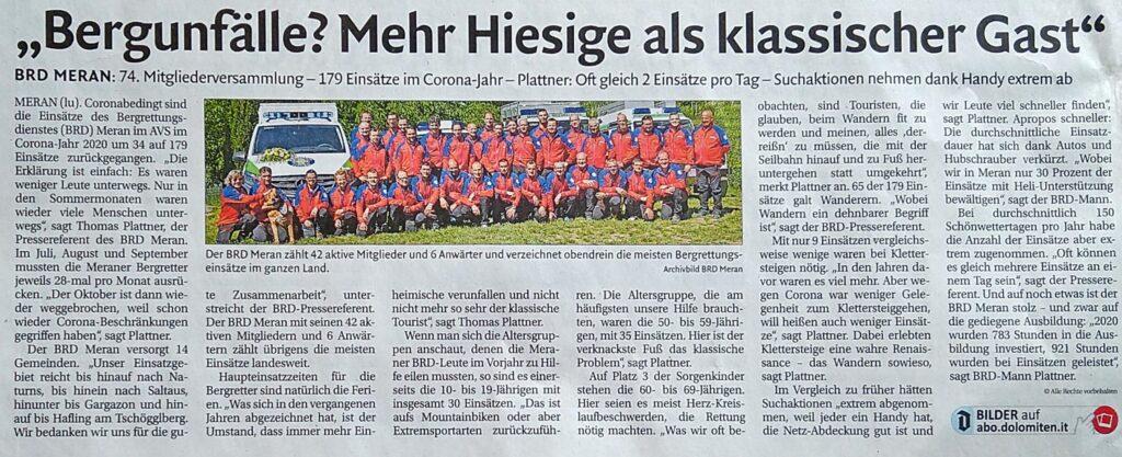 Presseaussendung Dolomiten 21.04.2021
